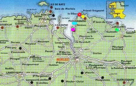 baie de morlaix carte Carte et itineraires Maisons de Charme en Bretagne